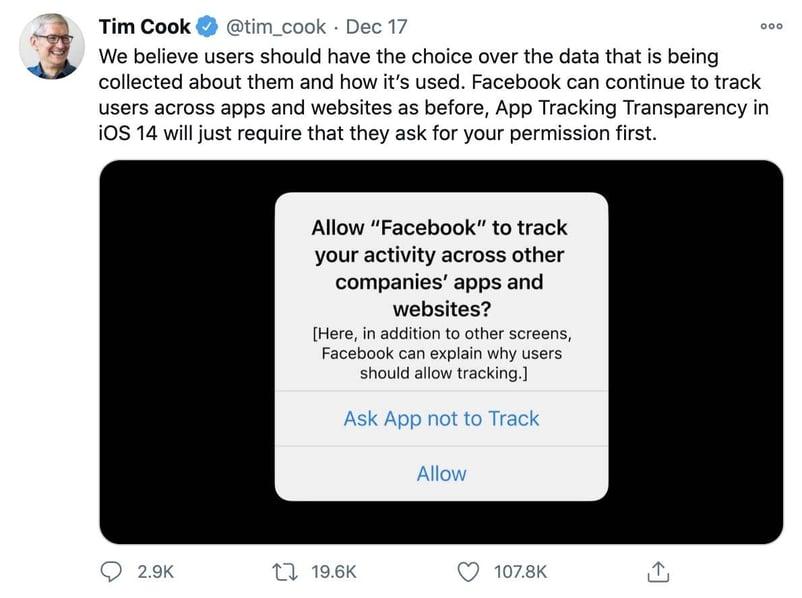 Apple CEO tweet screenshot