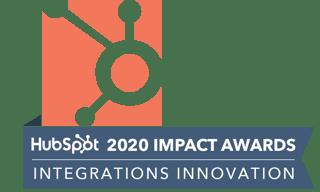 HubSpot 2020 Impact Awards Integrations Innovation Winner