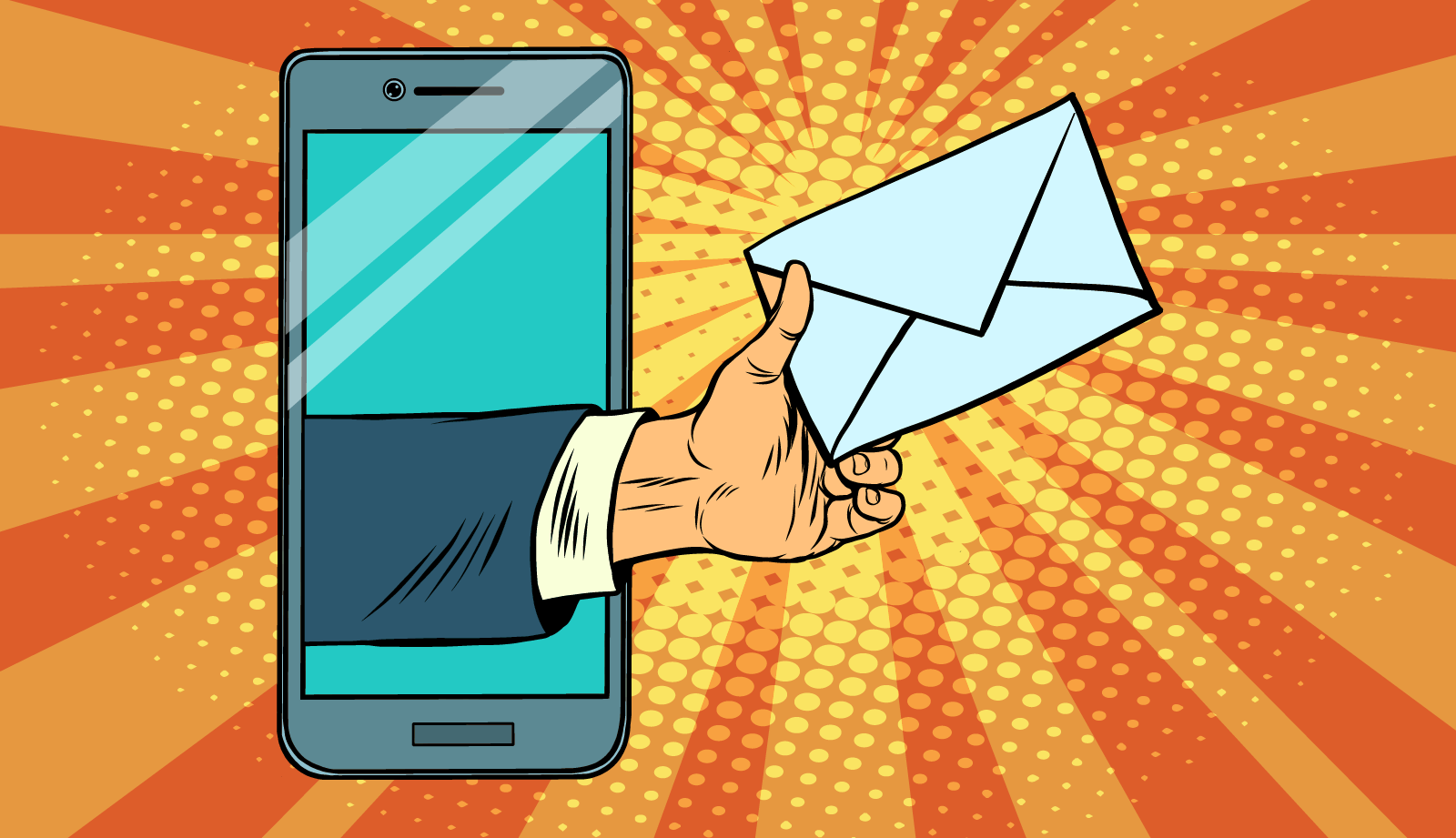 Hand passing mail out of a smart phone