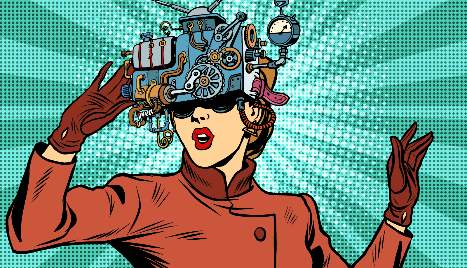 woman wearing steampunk device over eyes to view device