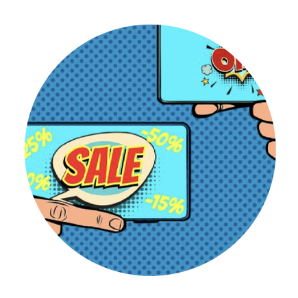 Smart phones showing sale icons