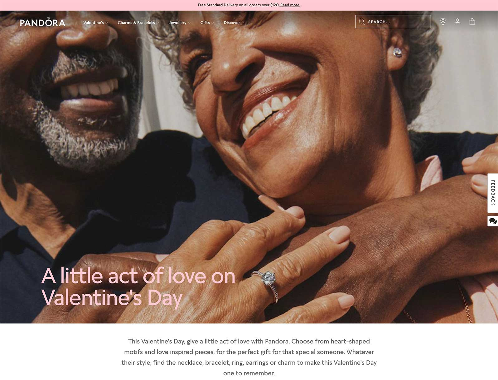 Love is in the air at Pandora with their Valentines Day landing page