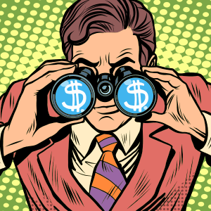 Man with binoculars with dollar signs