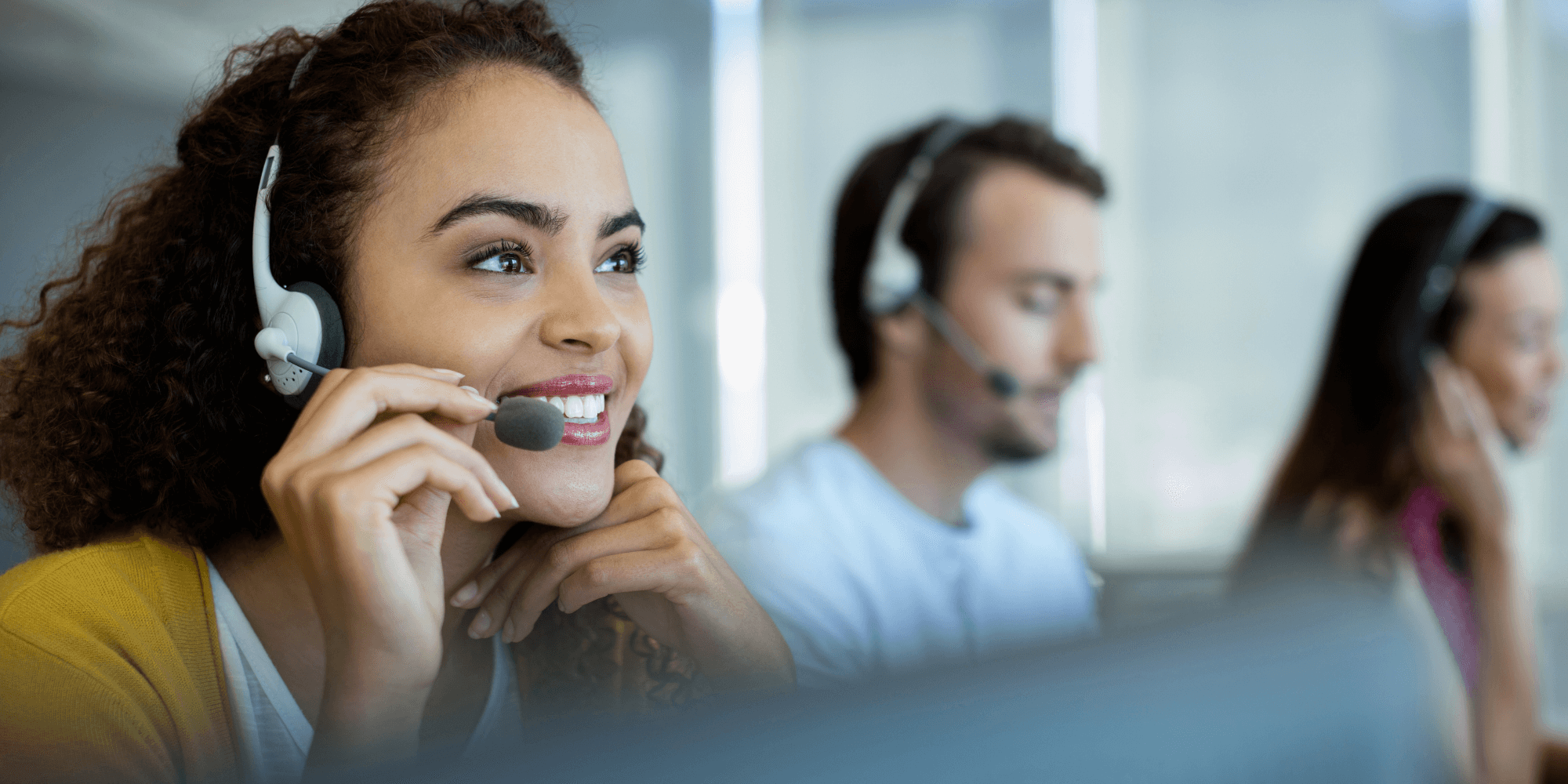 woman on headset in a call centre