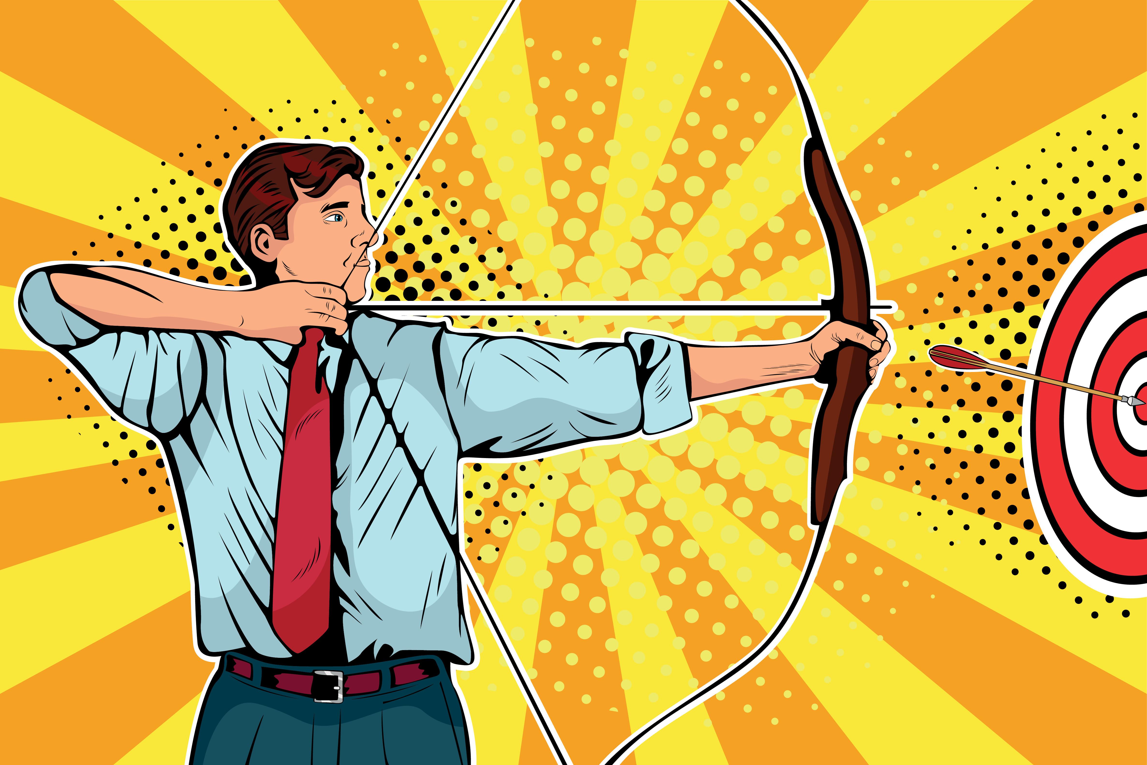 Professional man playing archery