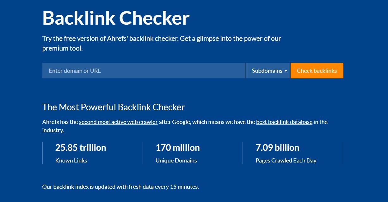 Screenshot of the Ahrefs backlink checker