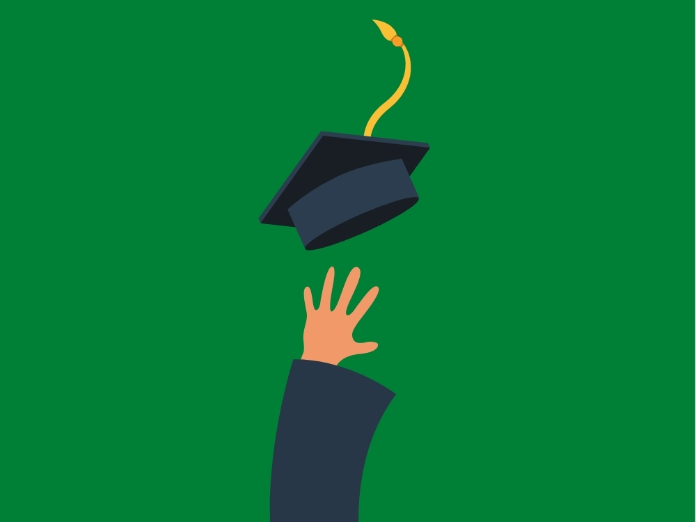 cartoon graduate throwing cap in air