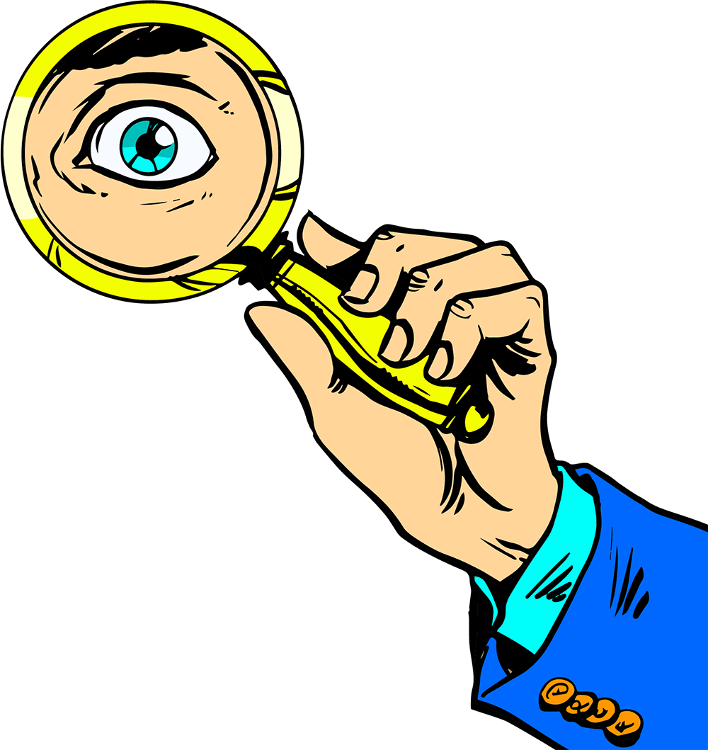 mans hand holding a magnifying glass up to an eye