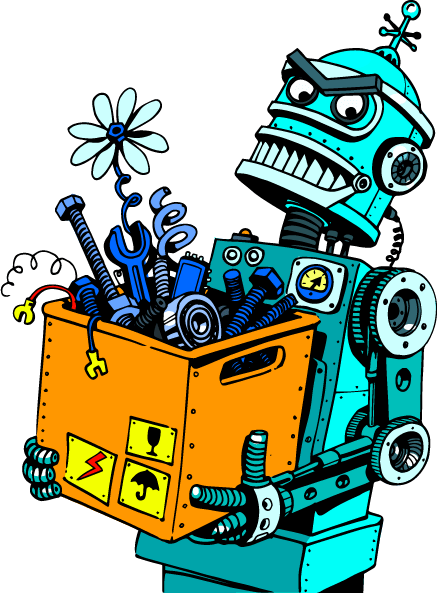 animated robot holding a box of various tools and springs
